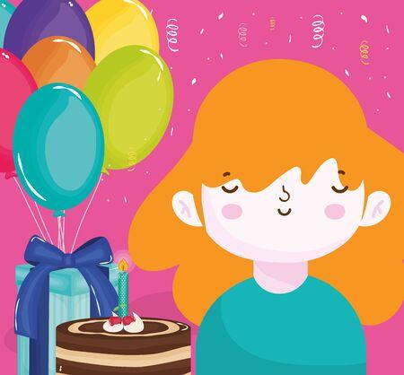 happy birthday girl with cake gift box and balloons vector illustration Illusztráció