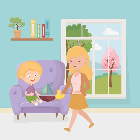mother and son with boat duck in the living room, kids toys vector illustration Illusztráció