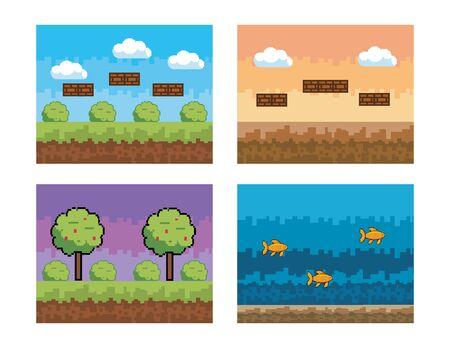 set of pixelated videogame scene with bushes and trees with fishes vector illustration Ilustrace