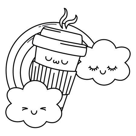 Coffee mug cartoon design, Kawaii expression cute character funny and emoticon theme Vector illustration