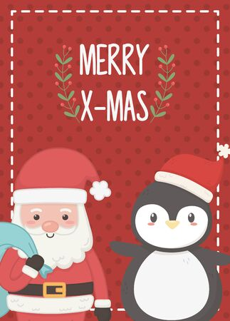 santa with bag and penguin merry christmas card vector illustration