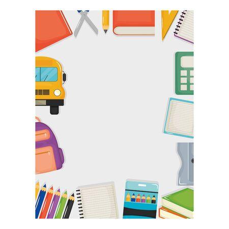 set of school supplies frame around