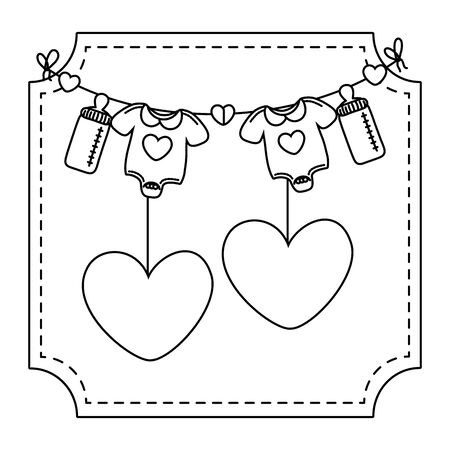baby clothes and hearts with feeding bottles hanging clothesline rope black and white vector illustration graphic design Illustration