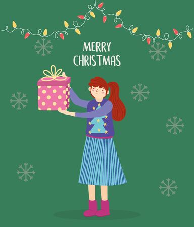 merry christmas woman with ugly sweater holding gift lights decoration vector illustration