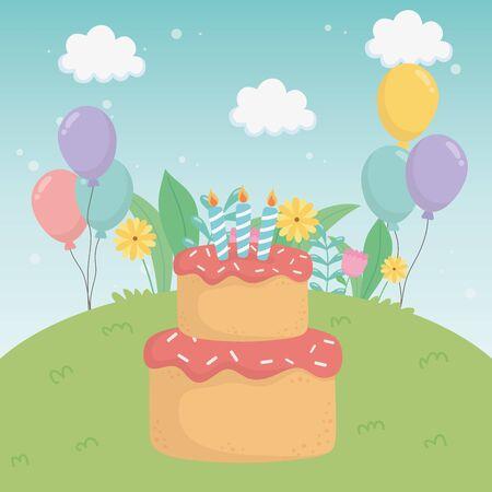 Cake design, happy birthday celebration decoration party festive and surprise theme Vector illustration Illusztráció