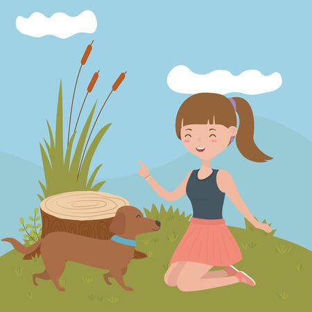 Girl with dog cartoon design, Mascot pet animal nature cute and puppy theme Vector illustration Stock fotó - 135480540