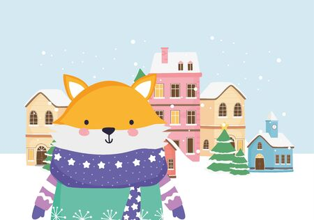 merry christmas celebration cute fox with scarf town snow vector illustration