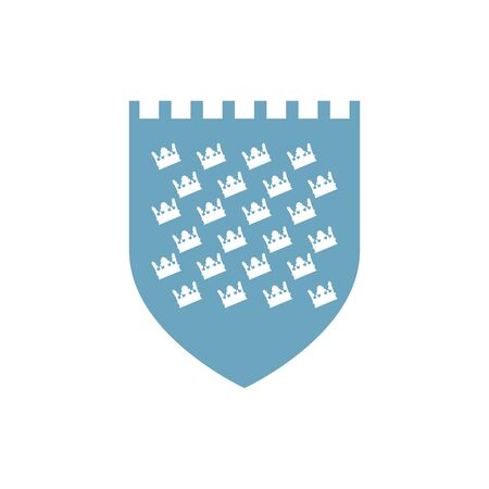 medieval shield with crowns pattern flat icon vector illustration design