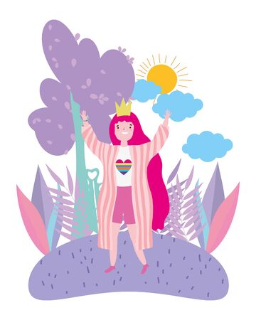 Woman cartoon design, Lgtbi march pride equality freedom love and community theme Vector illustration