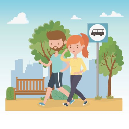 young couple walking in the park characters vector illustration design 일러스트