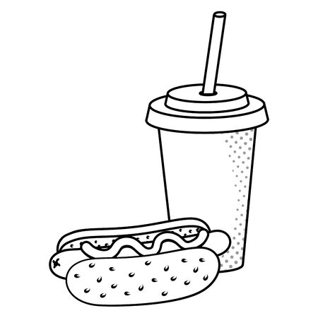 hot dog with soda paper cup black and white vector illustration graphic design