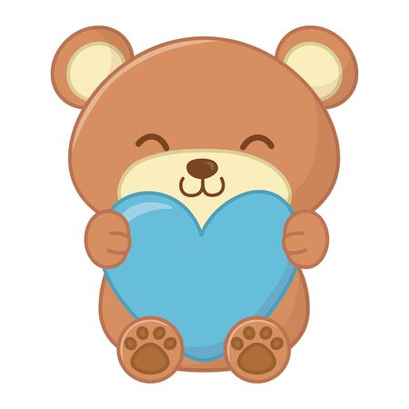 toy bear sitting and hugging a heart vector illustration graphic design
