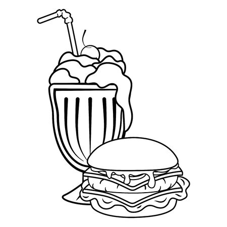 hamburger and milk shake with straw black and white vector illustration graphic design
