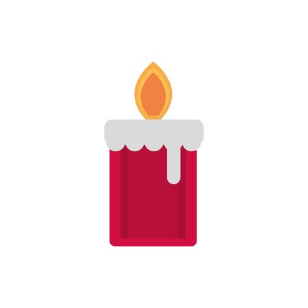 red burning candle decoration happy christmas icon vector illustration