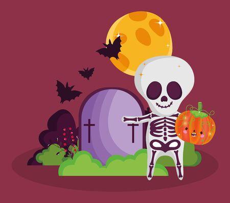 boy skeleton costume pumpkin gravestone bats halloween image vector illustration