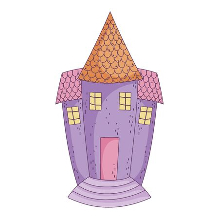 happy halloween celebration scary castle cartoon Ilustracja