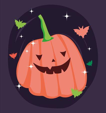 pumpkin bats cartoon decoration trick or treat - happy halloween