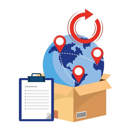 box with cellphone and globe with return arrow and location pointer vector illustration graphic design