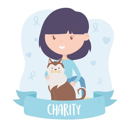 volunteering, help charity teen woman with dog rescue banner vector illustration