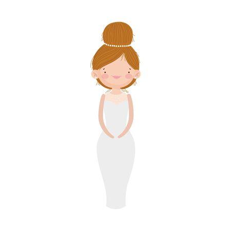 wedding bride woman elegant dress cartoon character vector illustration