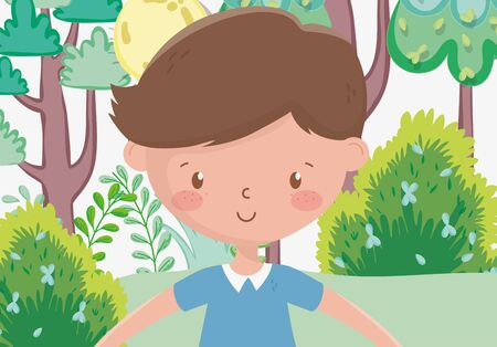 kids zone, cute little boy in the park trees flower sun vector illustration Stock Illustratie