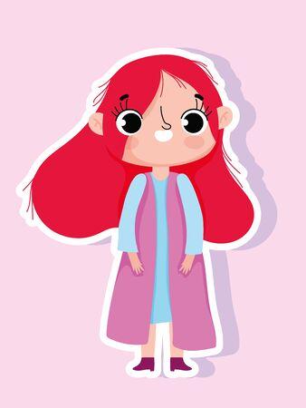 cartoon character animation little girl sticker style vector illustration Ilustracja