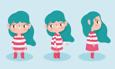 cartoon character animation little girl with red striped dress different posture vector illustration
