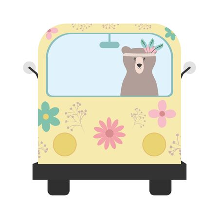 bear grizzly with feathers hat in hippie van vector illustration design Vektorové ilustrace