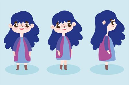 cartoon character animation cute little girl and posture vector illustration