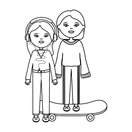 cute girls in skateboard urban style characters Ilustracja