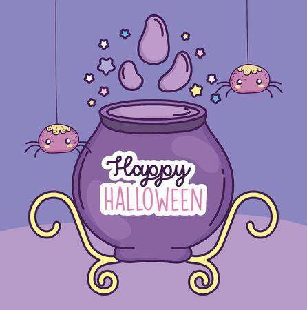 happy halloween celebration potion cauldron and spiders