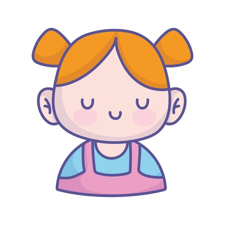 baby shower cute little girl with ponytails hair icon on white background vector illustration