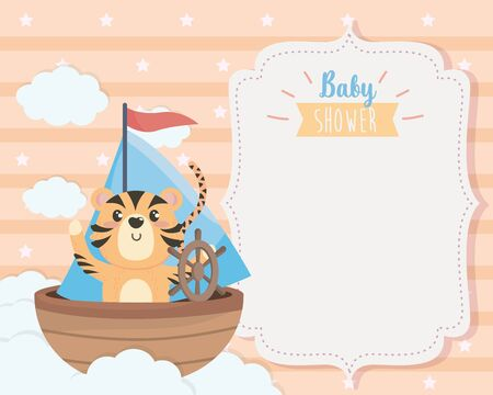 card of cute tiger in the ship and clouds