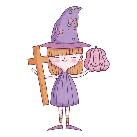happy halloween celebration girl witch pumpkin and cross vector illustration Ilustracja