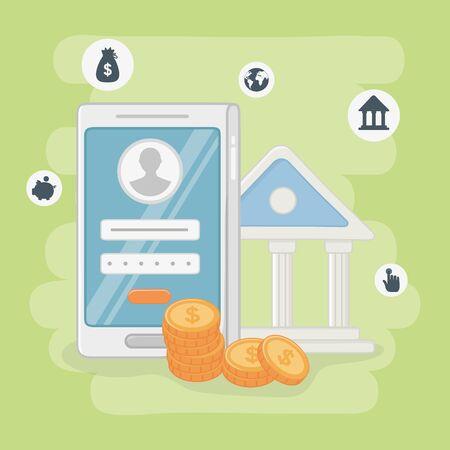 Betaling online pictogram decorontwerp, e-commerce winkelen internet retail web en koop thema Vectorillustratie