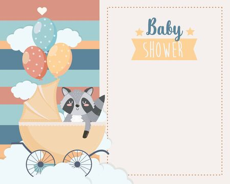 card of cute raccoon in the carriage and balloons Illusztráció