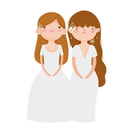 wedding brides women in elegant dress cartoon vector illustration