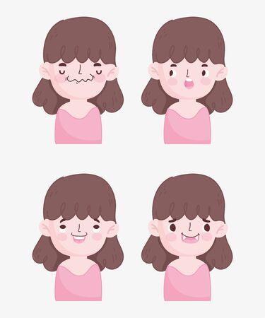 kawaii cartoon faces cute brunette little girl expressions Ilustracja