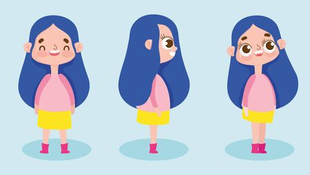 cartoon character animation smiling little girl different posture vector illustration