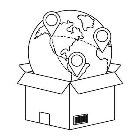 box with globe and location pointer vector illustration graphic design  イラスト・ベクター素材