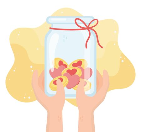 volunteering, help charity hands with jar filled money love donation vector illustration Vettoriali