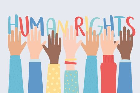 human rights, raised hands together community vector illustration 向量圖像