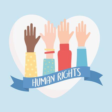 human rights, raised hands love heart ribbon vector illustration Çizim