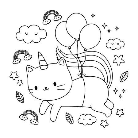 Diseño de dibujos animados de gato unicornio, cuento de hadas de fantasía mágica infancia y tema animal ilustración vectorial Ilustración de vector
