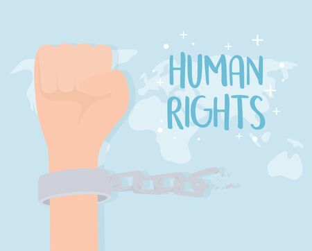 human rights, hand with handcuffs and chain world vector illustration