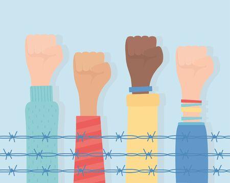droits de l'homme, mains levées diversité derrière les barbelés