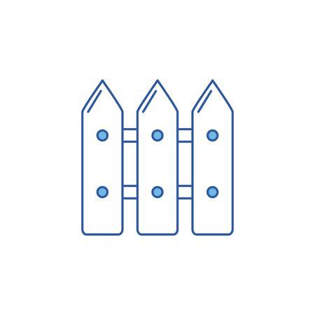 Conception d'icône de clôture en bois, objet de ferme de jardin de piquet de barrière et thème de mur Illustration vectorielle