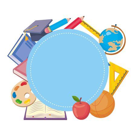 Isolated icon set of school design vector illustration