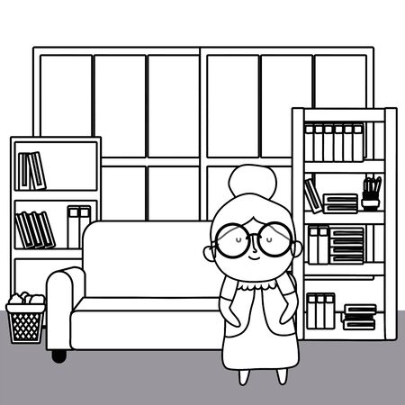 Grandmother cartoon design, Old person grandparents woman avatar senior and adult theme Vector illustration