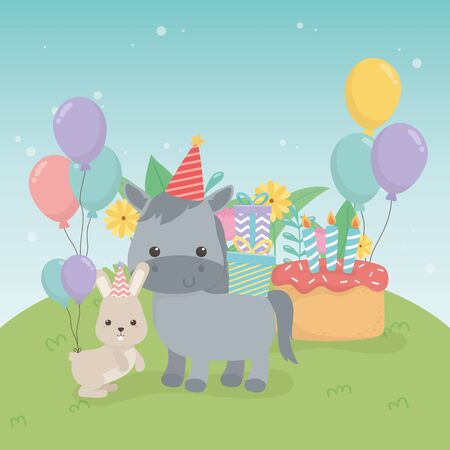cute hors and rabbit in birthday party scene vector illustration design  イラスト・ベクター素材